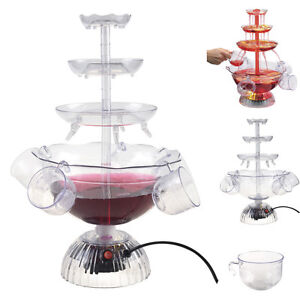 COCKTAIL FOUNTAIN ELECTRIC PUNCH BOWL WATERFALL WINE DRINKS PARTY ILLUMINATED UK