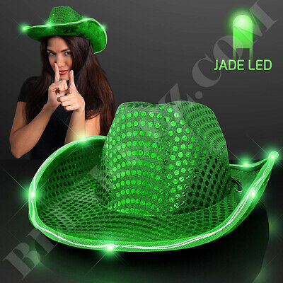 GREEN Sequin Cowboy Hat with Flashing GREEN LED Brim