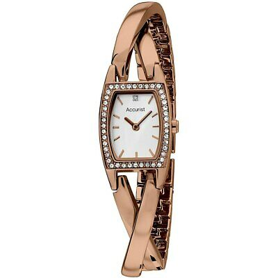 Accurist Ladies White Dial Rose Gold Plated Bracelet Watch LB163P RRP £100 Accurist Ladies Bracelet