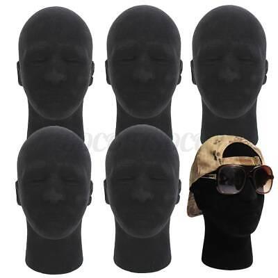 5pcs Male Foam Mannequin Manikin Head Model Wigs Glasses Hat Display Stand Black