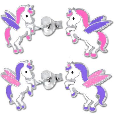 Ohrstecker für Kinder Mädchen Ohrringe Pferde 925 Echt Silber Einhorn Glitzer