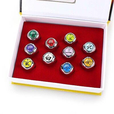 Cosplay Akatsuki Member's Ring Naruto Anime 10pcs New Set Collections In Box