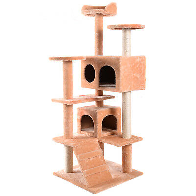 Cat Tree Tower Condo Furniture Scratch Post Kitty Pet House Play Beige New