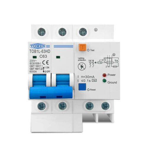 Residual Short Circuit Breaker 230V 30mA Leakage Main Switch Protection Surge