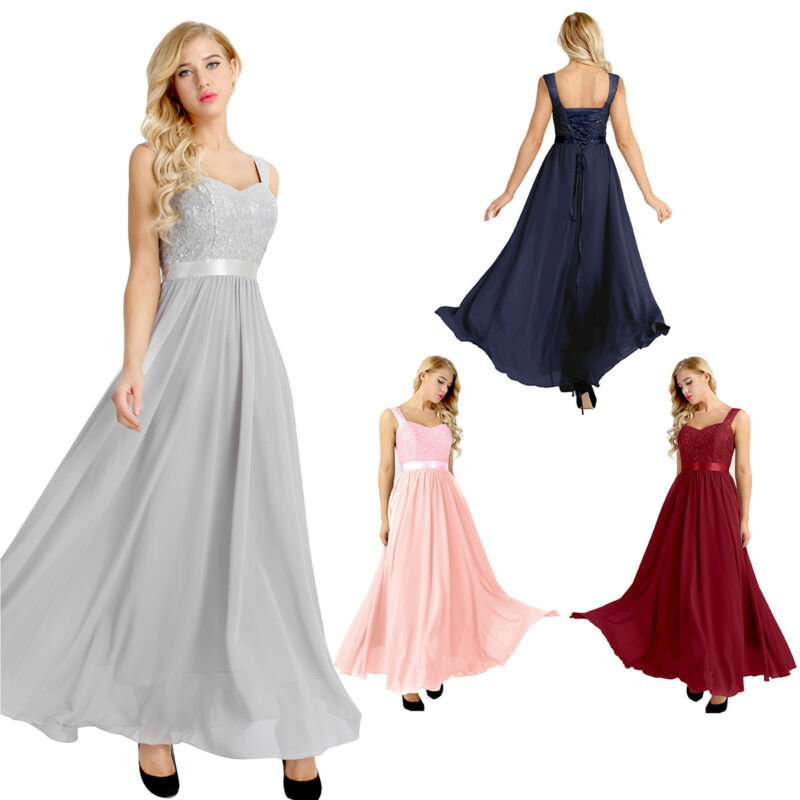 Womens Lace Formal Ball Gown Bridesmaid Wedding Evening Party Prom Long Dress US