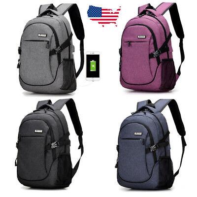 Anti Theft Men Women Usb Charging Backpack Travel Laptop School Shoulder Bag Us