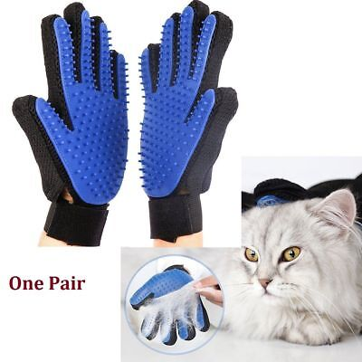 1 Pair Dog Cat Pet Grooming Glove Hair Fur Removal Remover Brush Mitt Massage