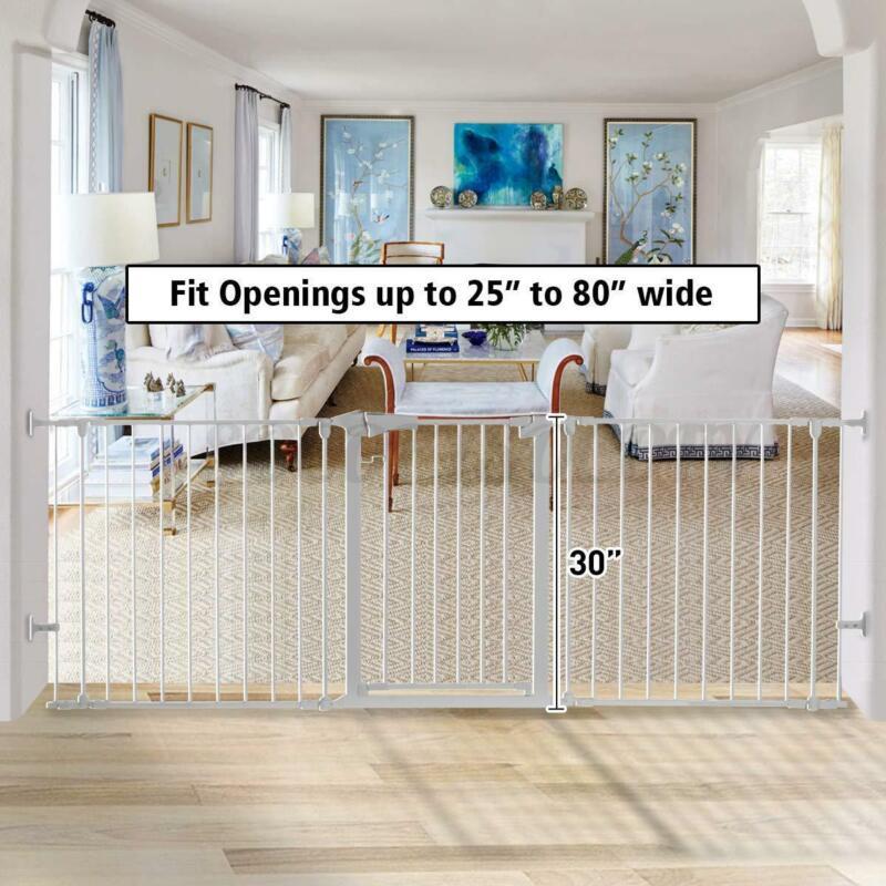 Large Baby Safety Gate Dog Cat Fence Easy Swing & Lock Child Walk Through Door