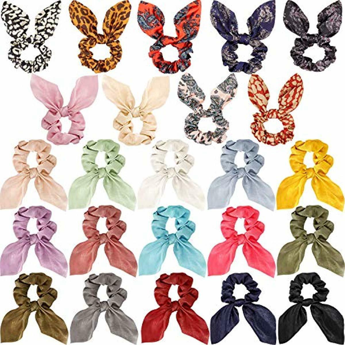 24 Pieces Hair Scrunchies Soft Scarves Scrunchies Elastic Ha