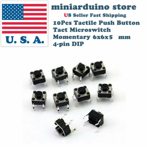 10Pcs 6x6x5mm PCB Momentary Tactile Tact Push Button Switch 4 Pin DIP Micro Mini