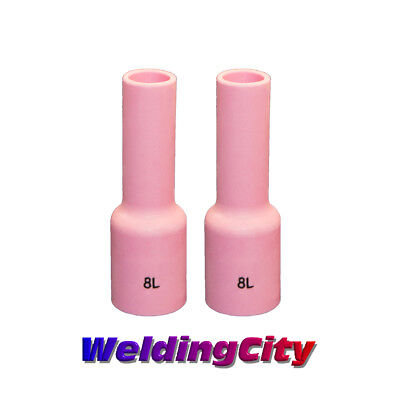 2-pk Tig Welding Long Ceramic Gas Lens Cup 54n14l 8 Torch 171826 Us Seller