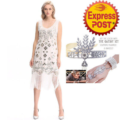 AU NEW K368 Ladies 1920s Roaring 20s Flapper Costume Sequin Gatsby Outfit Dress