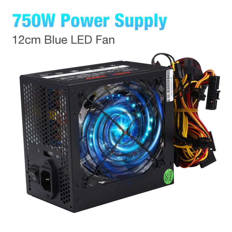 NEW 750W 750 WATT Gaming Computer Quiet Blue LED Fan SATA Power Supply PCIe US