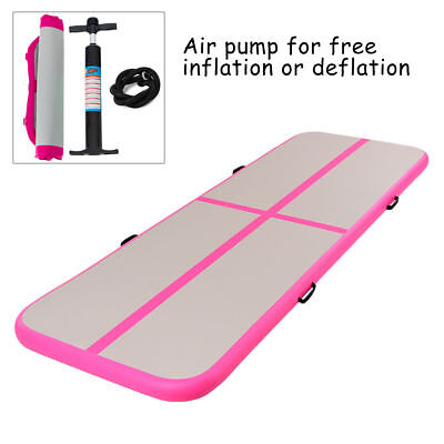 10' Inflatable Gymnastics Mat Air Track Floor Mats Water Buoyancy with Pump Pink
