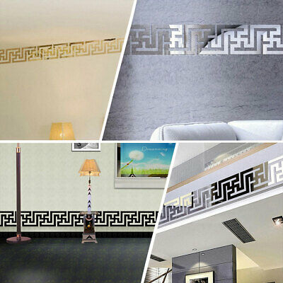 10pcs Ceiling Decoration Wall Border Removable Mirror Stickers Decals Art -