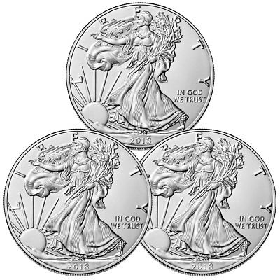 Lot of 3 Coins - 2018 American Silver Eagle $1 GEM BU Coin DELAYED SKU51561