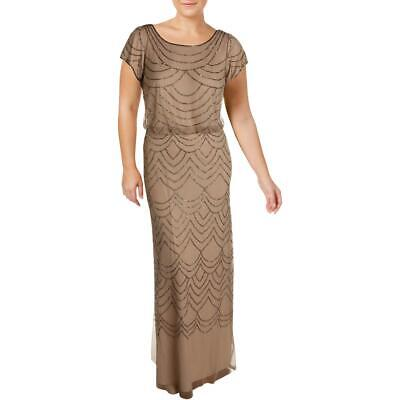 Adrianna Papell Womens Taupe Special Occasion Dress Gown Plus 18W BHFO 4712