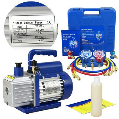 35cfm 14hp Combo Air Vacuum Pump Hvac R134a Kit Ac Ac Manifold Gauge Set