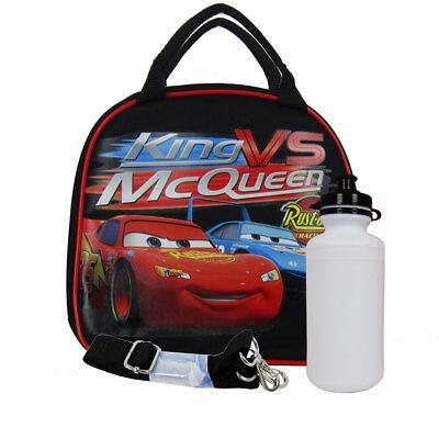 New King VS Lightning McQueen Red Cars Black School Lunch Box Bag & Water (Mcqueen Vs King)