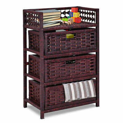 Drawer Storage Unit Tower Shelf 3 Wicker Baskets Storage Chest - Wicker Storage Baskets