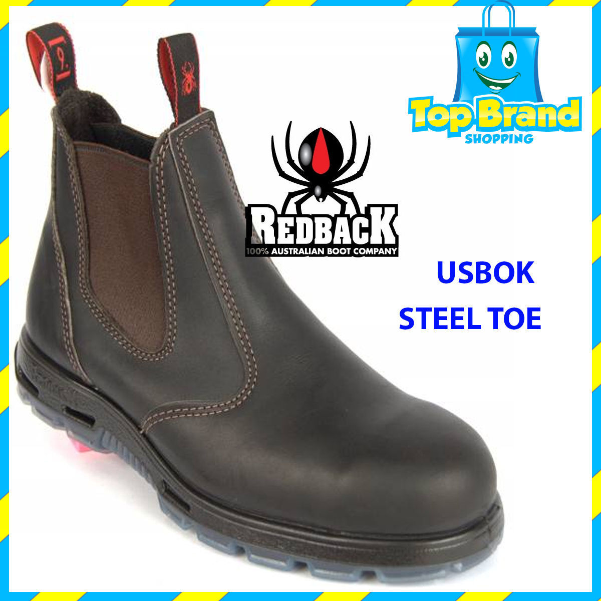 REDBACK Work Boots USBOK BROWN BOBCAT Claret OIL Slip On Steel Toe ...
