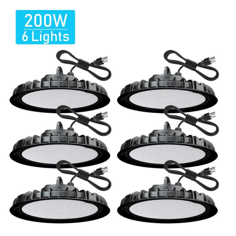 6 Pack 200W UFO Led High Bay Light Commercial Industrial Warehouse Light Fixture