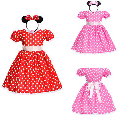 Girls Minnie Mouse Princess Costume Polka Dot Party Birthday Outfits Tutu Dress - Minnie Mouse Costumes For Girls