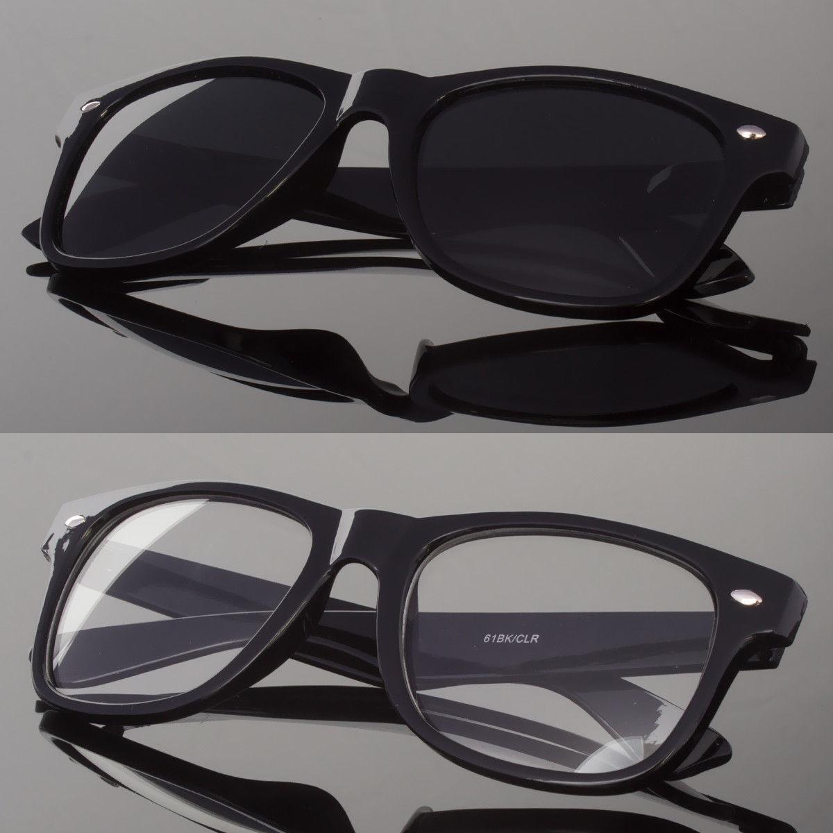New Black or Clear Lens Sunglasses Vintage Retro Men Women C
