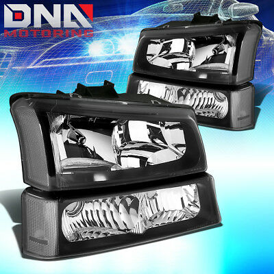 FOR CHEVY SILVERADO 2003 2006 EURO BLACK HOUSING CLEAR CORNERBUMPER HEADLIGHTS