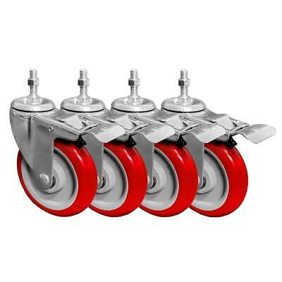 4 Pack 5 Inch Stem Caster Swivel With Front Brake Red Polyurethane Caster Wheels