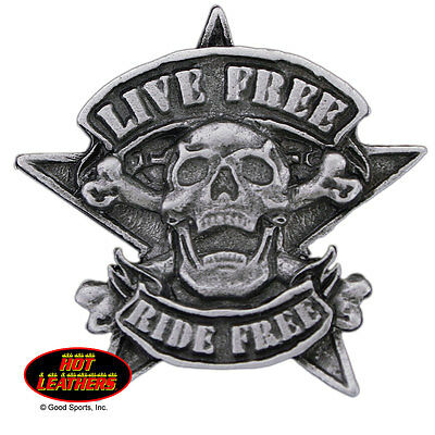 Pewter Badge Live Free Ride Free Star Motorcycle Biker Cruiser Made In U.S.A