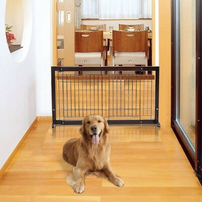 Modern Cherry Wood Adjustable Free Stand Small Dog Puppy Cat Pet Fence Gate Tool