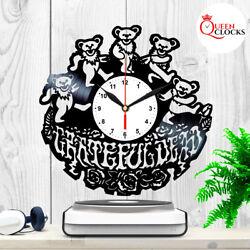 Grateful Dead Logo Bears Vinyl Record Wall Clock Birthday Gifts Art Decor Stuff