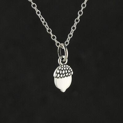 Tiny Acorn Necklace - 925 Sterling Silver - Pendant Oak Tree Nut Acorns Fall NEW