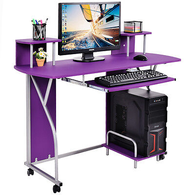Rolling Computer Desk PC Laptop Desk Pull Out Tray Home Office Workstation New