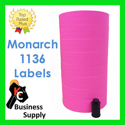 Monarch 1136 Pink Price Gun Labels 1 Sleeve Quality Made In Usa Ink Included