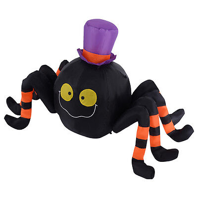 4FT Inflatable Halloween Spider W/Hat Decoration Air Blown Lighted Outdoor Yard