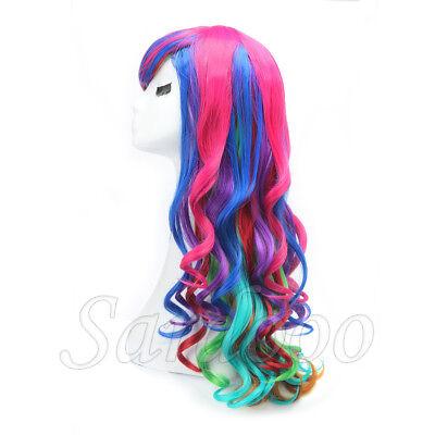 Damen Perücke Regenbogen Kostüm Bunt Papagei Langhaar 80 cm Lockig + Haarnetz
