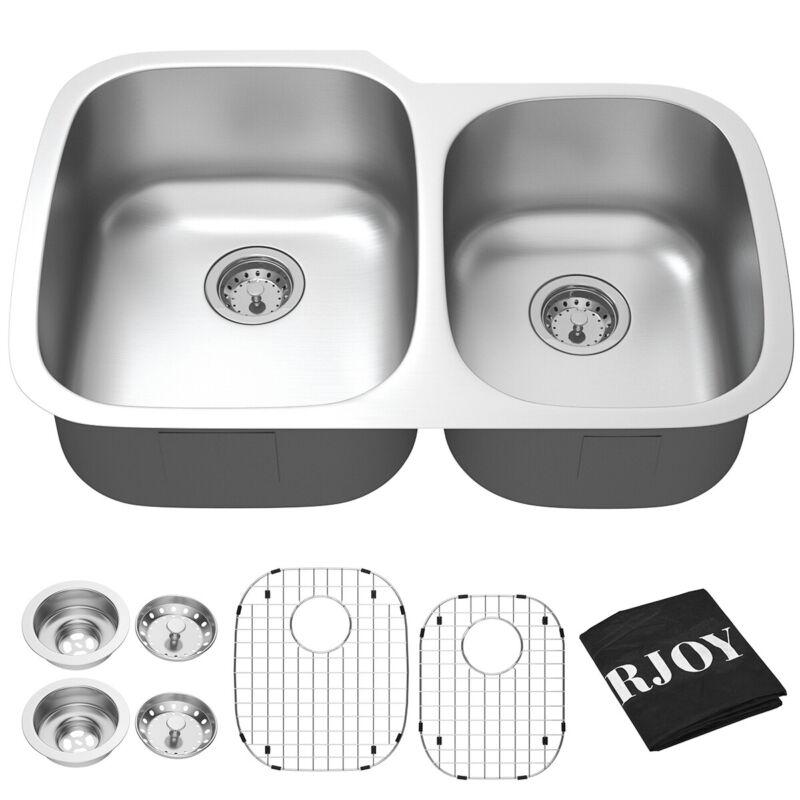 "Costway 32"" UnderMount 60/40 Double Bowl Kitchen Sink Stainless w/ Accessories"