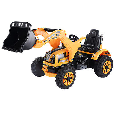 12V Battery Powered Kids Ride On Excavator Truck With Front Loader Digger Yellow