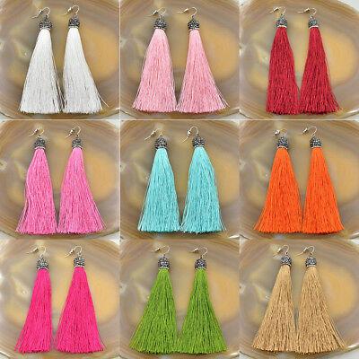 Fashion Charm Crystal Silk Tassel Rhinestone Cap Fringe Dangle Ear Stud Earrings