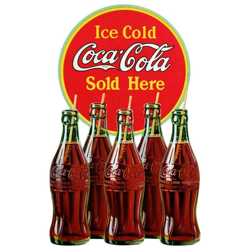 Ice Cold Coca-Cola Sold Here Bottles Wall Decal Vintage Style Kitchen