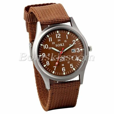 Men s Military Army Sports Nylon Strap Quartz Date Display Wrist Watch Coffee - $2.49