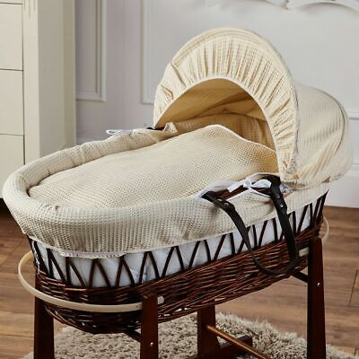 Cream Waffle Brown Wicker Moses Basket for sale  Shipping to South Africa