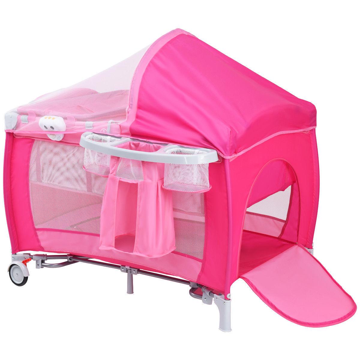 Pink Portable Folding Infant Baby Crib Playpen Bassinet Bed