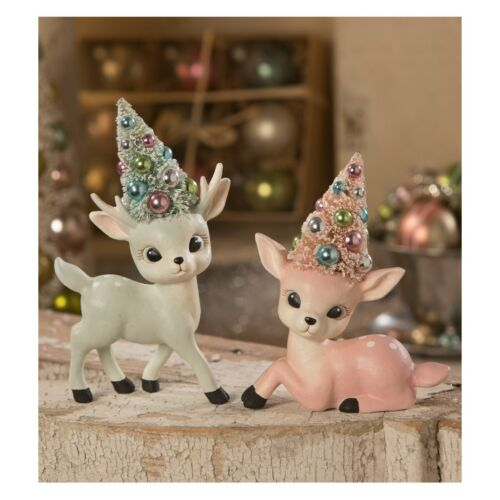 Bethany Lowe Designs Christmas Pastel Reindeer with Tree Figurine