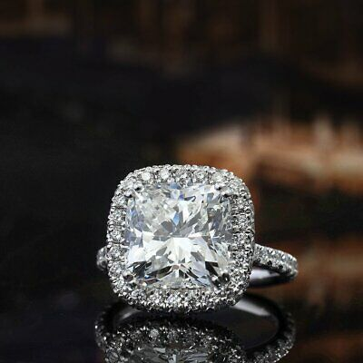 3.50 Ct Cushion Cut Diamond Halo Engagement Ring I Color VS2 GIA Certified 14KWG 2
