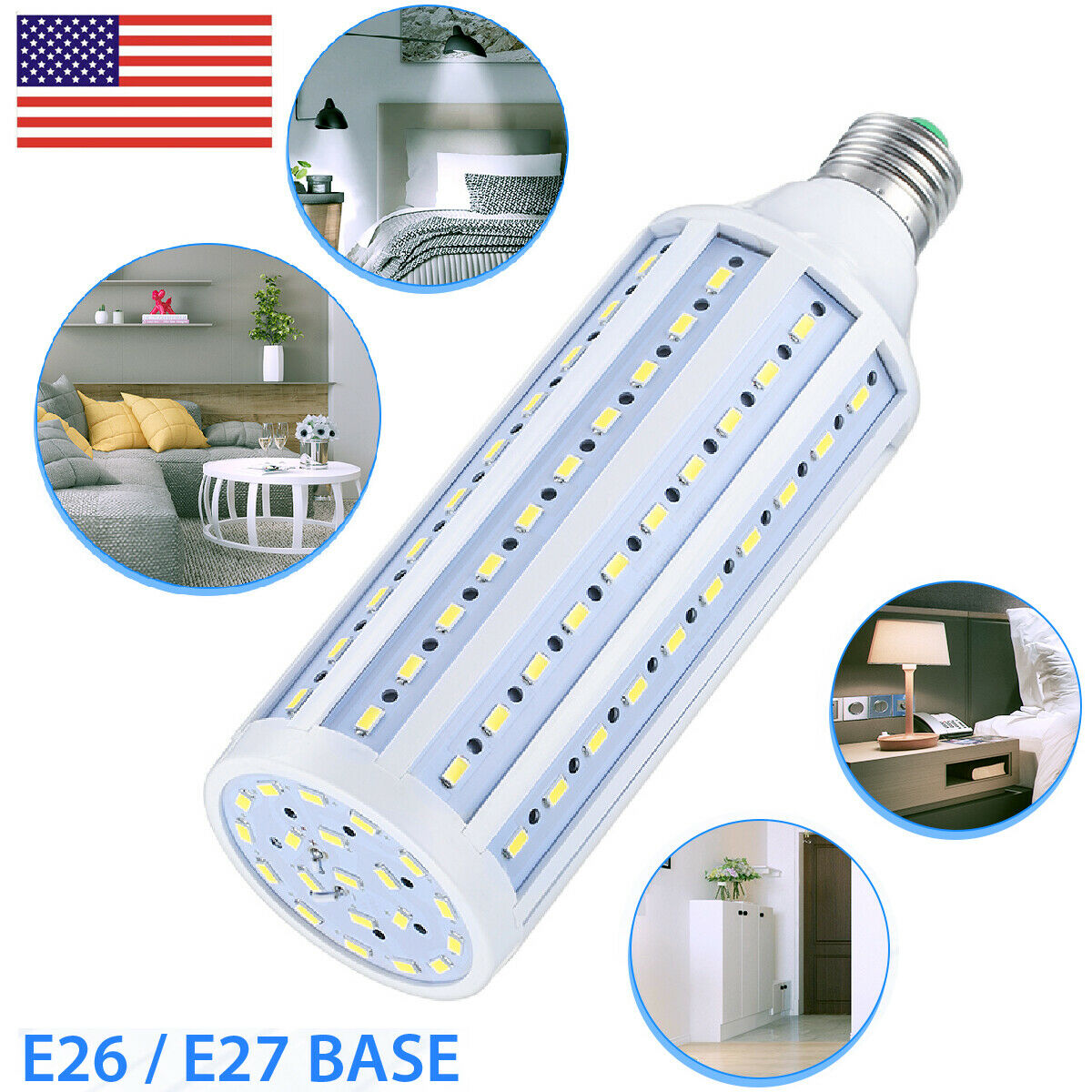 Equivalent LED Bulb 120-Chip Corn Light E26 Cool Daylight 60