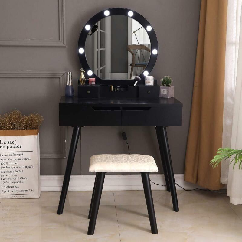 Vanity Set Makeup Dressing Table with 10 led Lights Round Mirror 2 Large Drawers