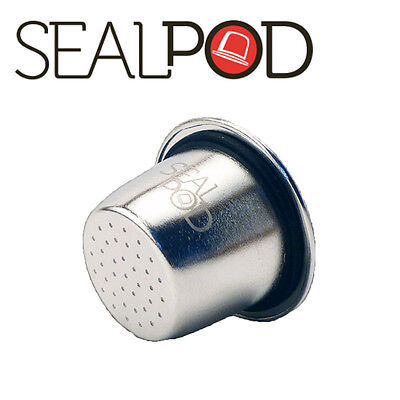 Sealpod 1 pc Reusable Stainless Steel Capsule for Nespresso w/ 24pcs Sticker